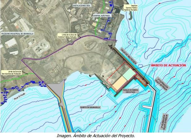 Puertos de Tenerife   Puerto de Granadilla   Explanada   ambito de actuaciu00f3n